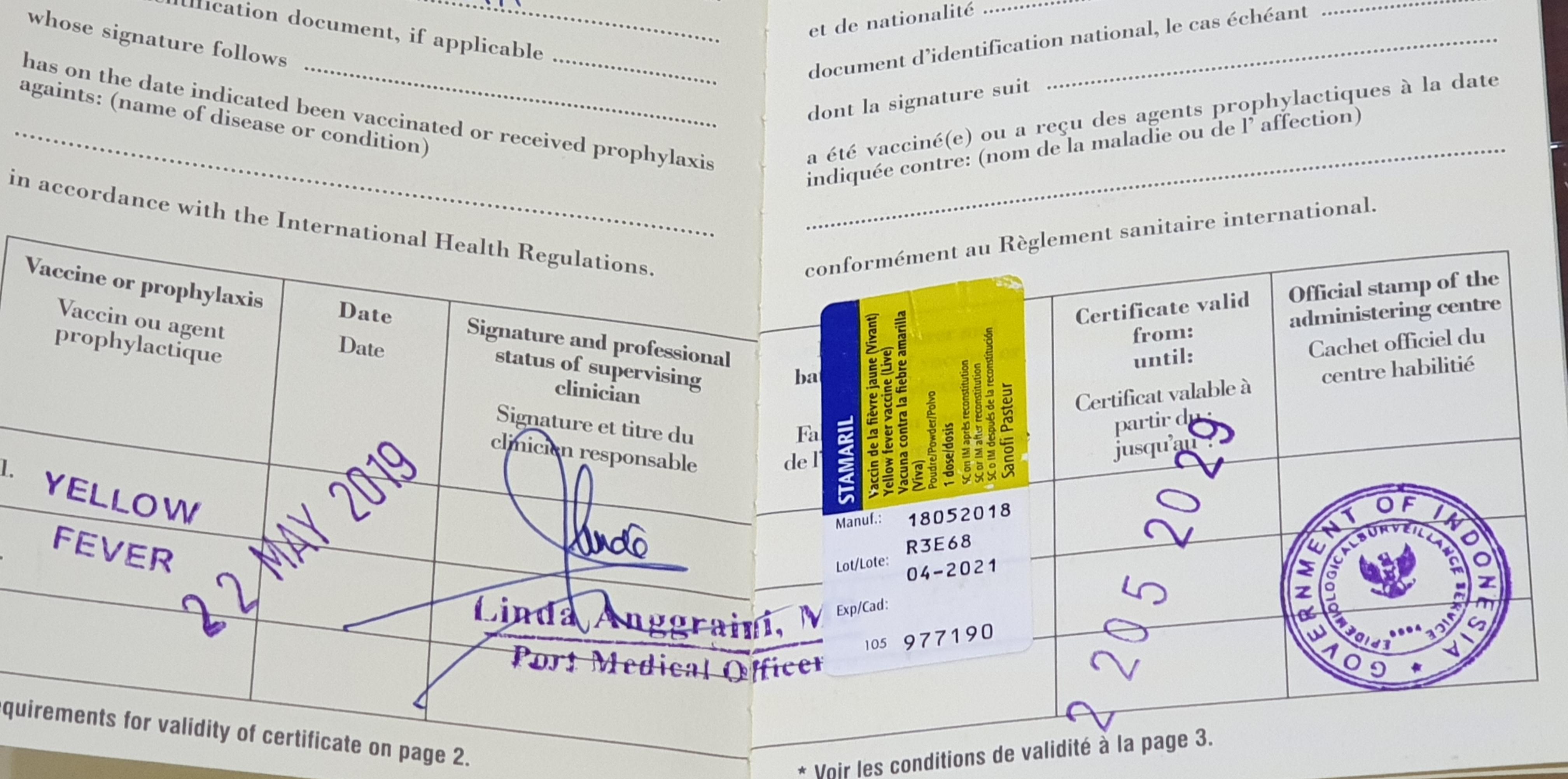 Sertifikat Vaksin Yellow Fever Pakansicom